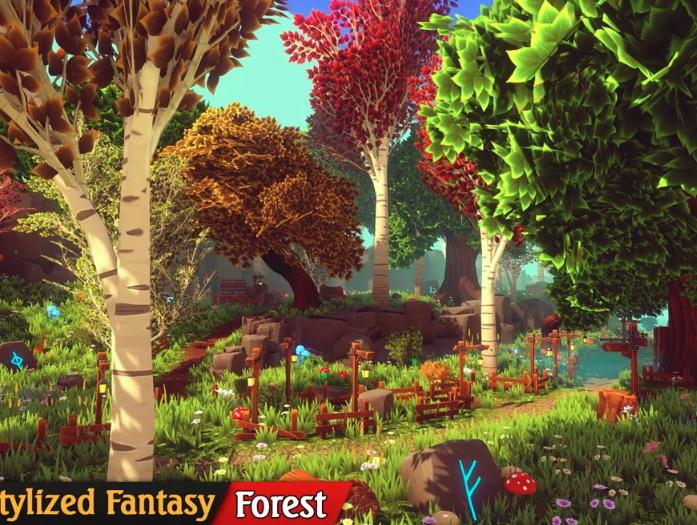 Unity3D森林场景资源包Stylized Fantasy - Forest Environment 第1张