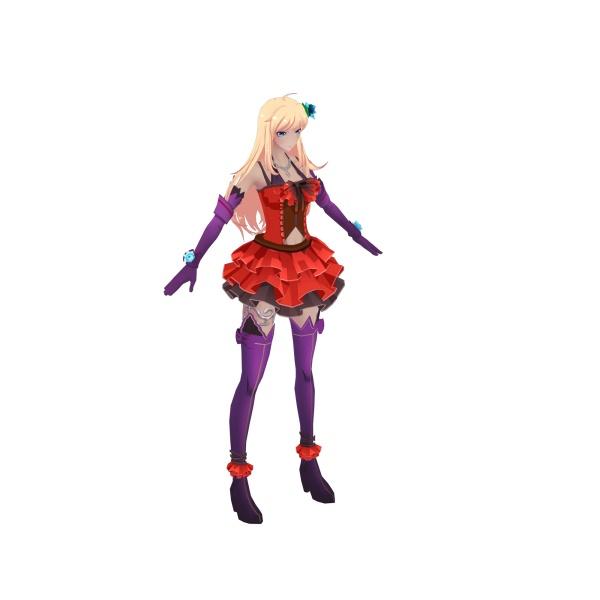 二次元美女角色模型11个动画支持unity虚幻引擎导入提供源文件